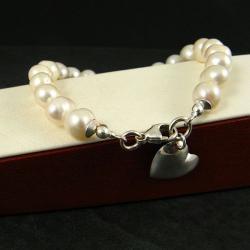perłowa,klasyczna - Bransoletki - Biżuteria