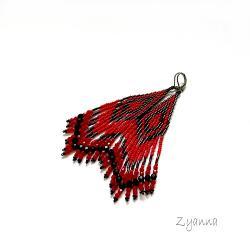Kolczyki,indiańskie,czerwone,czarne - Kolczyki - Biżuteria