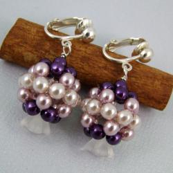 klipsy,kula,fiolet,delikatne - Klipsy - Biżuteria