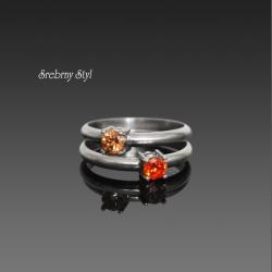 srebro,cyrkonie,oksydowane,zestaw pierścionków - Pierścionki - Biżuteria