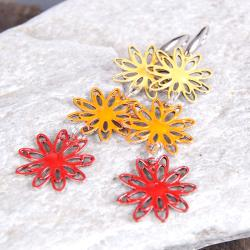 kolczyki,kwiaty.emalia,wiszące - Kolczyki - Biżuteria