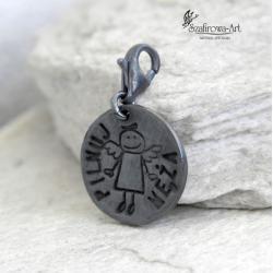 wisior,charms,prezent,personalizacja,anioł, - Breloki - Biżuteria