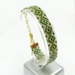 bransoletka,zielona,złota,Extrano - Bransoletki - Biżuteria