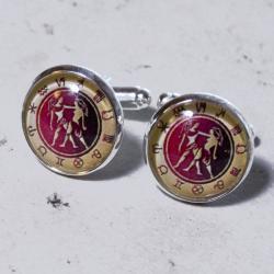 spinki do mankietów,zodiak,grafika,dla niego,preze - Dla mężczyzn - Biżuteria