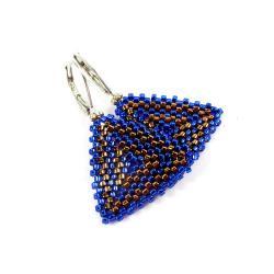kolczyki,trójkąty,kobaltowe,plecione - Kolczyki - Biżuteria