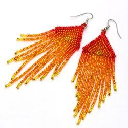 płomienne kolczyki,kolczyki indiańskie - Kolczyki - Biżuteria