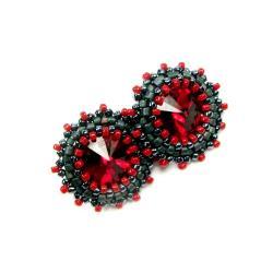 Swarovski,rivoli,czerwone,sztyfty - Kolczyki - Biżuteria
