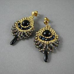 kolczyki ze złotem,ooak,unikatowe - Kolczyki - Biżuteria