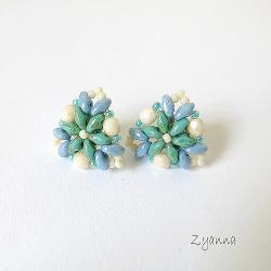kolczyki,małe,proste,super duo - Kolczyki - Biżuteria