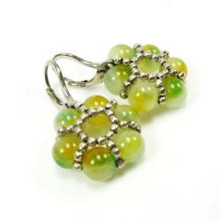 kwiaty,zielone,srebro,Extrano,kolczyki - Kolczyki - Biżuteria