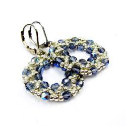 koła,błękitne,plecione,Extrano - Kolczyki - Biżuteria