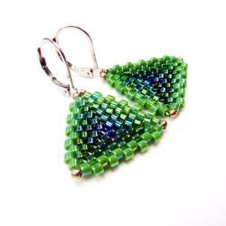 trójkątne,zielone,kolczyki,Extrano - Kolczyki - Biżuteria