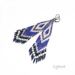 Kolczyki,indiańskie,fioletowe,białe - Kolczyki - Biżuteria