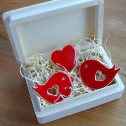 zakochani,romantyczne,ptaszki,serduszko - Magnesy na lodówkę - Wyposażenie wnętrz
