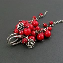 koralowe,grona,długie - Kolczyki - Biżuteria