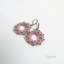 kolczyki,delikatne,różowe,koła - Kolczyki - Biżuteria