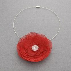 elegancki,bordo,ozdoba,dekolt,kwiatek - Naszyjniki - Biżuteria