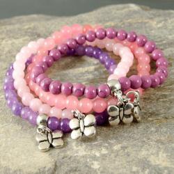 KOMPLET,BRANSOLETKI,różowe,dziewczęce - Bransoletki - Biżuteria