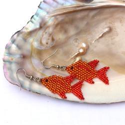 kolczyki rybki,ryby,plecione - Kolczyki - Biżuteria