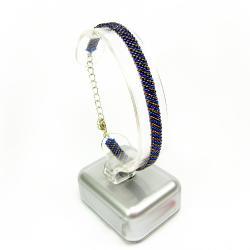 bransoletka,kobaltowa,pleciona,Extrano - Bransoletki - Biżuteria