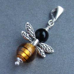 pszczółka,pszczoła,owad,wiosna - Wisiory - Biżuteria
