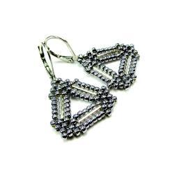 srebrne,trójkąty,kolczyki - Kolczyki - Biżuteria