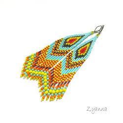 Kolczyki,indiańskie,bardzo długie,jaskrawe - Kolczyki - Biżuteria